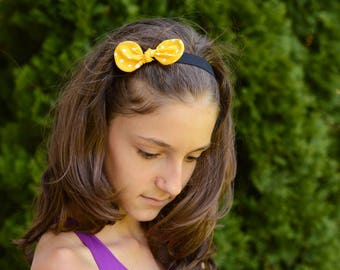 Headband, Yellow diadem, Yellow headband, Bow diadem, Yellow bow, Bow headband, Fabric diadem, Fabric headband, Girly gift