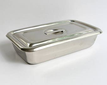 Stainless steel box, Covered laboratory dish, Medical dish with lid, 18-8 stainless steel, Hospital labware