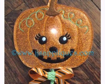 ITH Fall Pumpkin Flashing Wand Embroidery Design - 2 sizes: 3 inch doll size and 4 inch light up wands - Instant Download