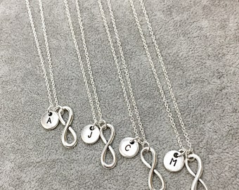 Infinity Friend necklace - set of 4 Friendship Jewelry Set of 4 Necklace Friends Four Friendship Necklaces Matching Gift Set Bridesmaid Gift