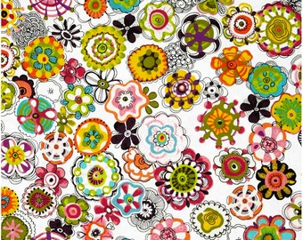 Cha Cha Mod Mid Scale Tossed Flowers Floral White from P & B Textiles, by the Yard