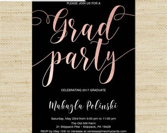 GRAD Party Invites, Faux Rose Gold Foil Graduation Party Invitations, Eco Printed Cards or DiY Printable, FREE SHIPPING