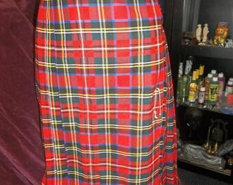 Vintage Royal Stuart Red Plaid Kilt Vintage 1980s Punk Rock Tartan Wool Pleated Straight Skirt Made in England Sz 5 Graffiti Brand