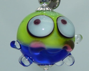Squeedle Charm Lampwork Blue Lime Green Pink Miniature Octopus Cute Character Diabetes Ocean Sealife Fun