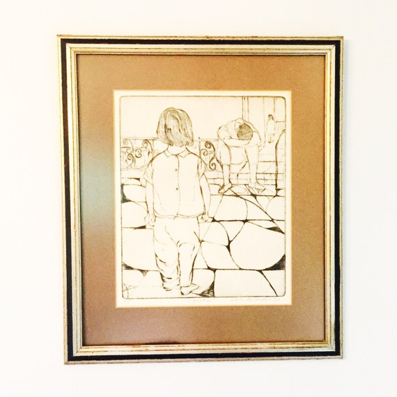 "Jack Bilander ""Vignette"" 1966 Etching with Professional Framing - Contemporary Framed Art"