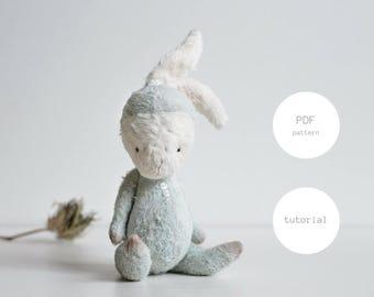PDF Sewing Pattern & Tutorial Mohair Rabbit 6 Inches Stuffed Animal Pattern Artist Teddy Bear Pattern For Women Easter Bunny Plush Pattern