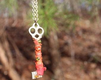 Vintage Skeleton Key Silk Wrapped Necklace