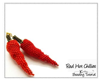 Peyote Stitch Beading Pattern for lifelike Seed Bead Chilli Earrings or Kitchen Decor Beadweaving Instructions Tutorial RED CHILLIES