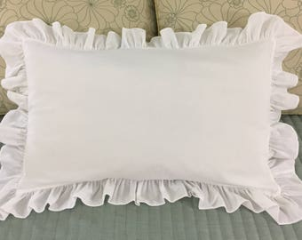 SHABBY CHIC Ruffle Pillowcase Shams (2) 60cm x 40cm White Cotton 6cm Ruffles