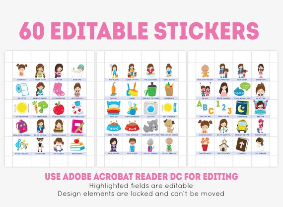 Printable chore chart for girls 60 editable stickers daily