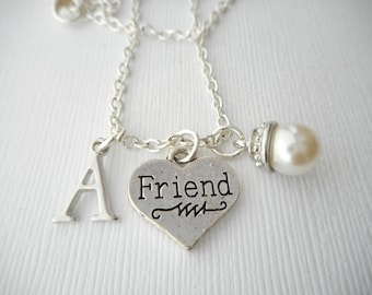 Pearl, Friend- Initial Necklace/ Love, Gift for her, teen, Gift Ideas, Birthday Gift, bff jewelry, Personalized Friend, gift for bff