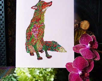 Fox Card Fox Blank Card Fox Own Message Card Fox Print Fox Birthday Card-One to frame,it makes a great children's room picture a lovely gift