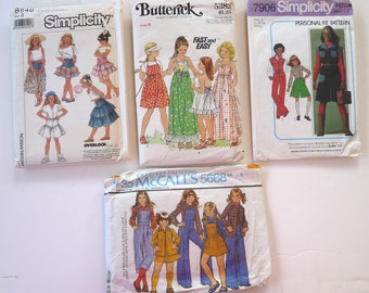 4 sewing patterns girls size 8 vintage overalls shirt sundress tiered skirt pantsuit
