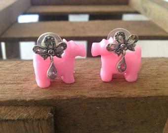 Marcasite Drop Pierced Earrings