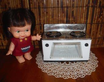 Vintage Tin Toy Stove Oven Dollhouse Furniture - 1950's Kitchen Furniture - '50's Metal White Black Gas Stove Oven Child's Toy Furniture