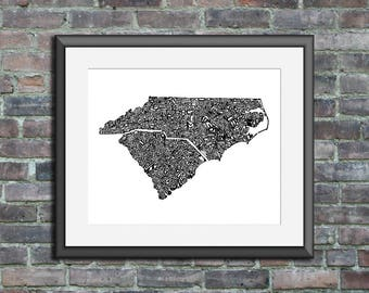 The Carolinas typography map art unframed print personalized state poster custom wall decor engagement wedding housewarming gift beach house