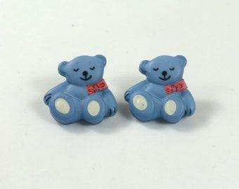 Bear earrings, Bear studs, Bear jewelry, Blue earrings, Blue bear studs, Button earrings