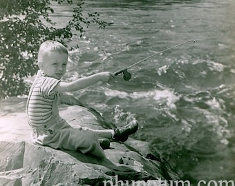 Fishing in Taylor River Almont Colorado Vintage Photo Bob Hartman 1942 Found Photograph