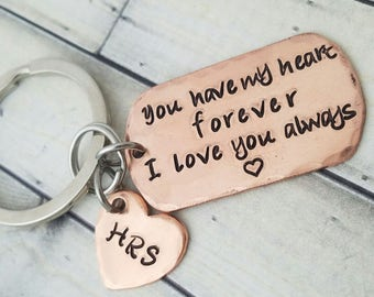 personalized keychain-dog tag keychain-mens keychain-couples keychain-anniversary -deployment -unisex key chain-you have my heart forever