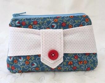Blue floral zip purse, lipstick pouch, coin purse
