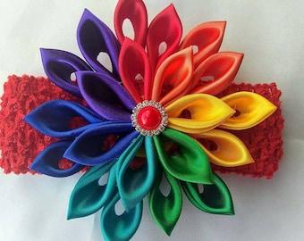 Rainbow Kanzashi flower Headband, Multicolor Headband, Rainbow Headband.