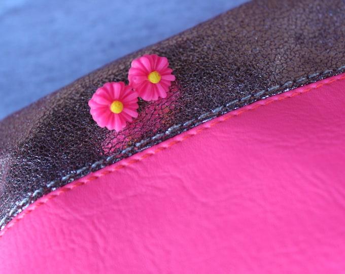 Hot Pink Daisy Post Stud Earrings.