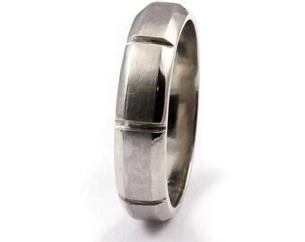 14K White Gold Men's Wedding Band - Grooved on Satin Finish - 5mm Gold Engagement Band - Men's Wedding Ring