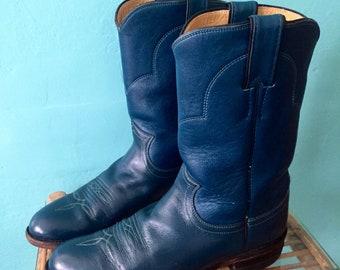 Vintage Leather Cowboy Boots Blue