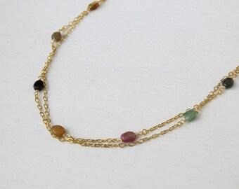 Summer SALE - Gold double strand necklace, Tourmaline necklace, Multicolor necklace