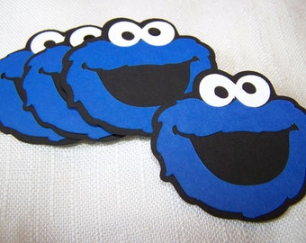 Monster faces measuring 4 x 4.5 inches set of four | Free shipping