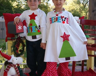 Matching Christmas Outfit for Children, Brother and Sister Christmas Clothing, Sibling Christmas Outfit
