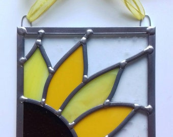 Handmade stained glass sunflower panel.