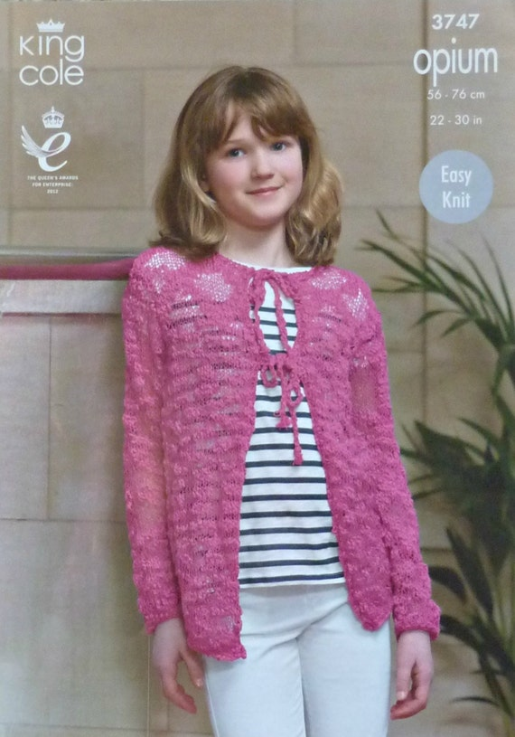 Girls Knitting Pattern K3747 Girls Long Sleeve Round Neck Tie