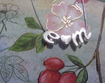 Personalized Initial Letter Alphabet charm sterling silver Necklace pendent