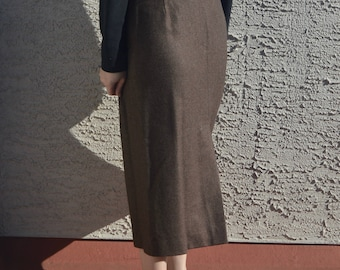 Vintage High Waisted Wool Brown Midi Skirt, Size 10