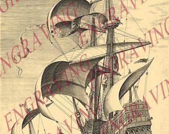 3/3 Sailing ship ship boat vessel Printable JPG Image Digital Download
