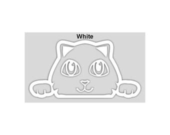 KITTY CAT *Looking Peeking out of Window* Vinyl Decal Sticker - 3 Sizes & 18 Colors to Choose!