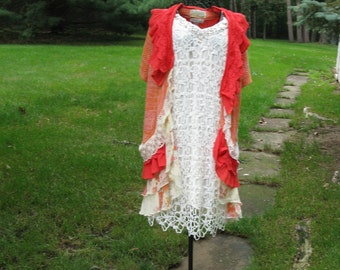 Orange Cream and Coral Gypsy Bohemian Vest with Flowing Floral Skirting Upcycled Wearable Art