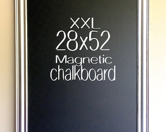 Wedding Chalkboard Sign FRAMED CHALKBOARD MAGNETIC Chalk Board Silver Platnium Black Board Blackboard Seating Chart Seating Cards Modern