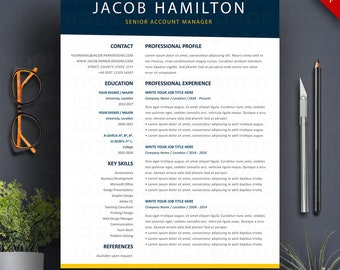 Resume Template Word 3 Page Professional CV + Cover Letter Creative Teacher Resume Two Column