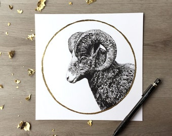 Big Horn Ram la neige Moon février impression du dessin Original de Graphite avec feuille d'or Portrait Animal Ram impression grand cornes moutons impression