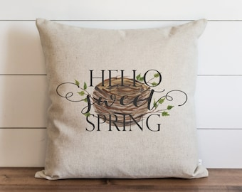 Hello Sweet Spring_Nest 20 x 20 Pillow Cover // Everyday // Throw Pillow // Gift // Accent // Cushion Cover