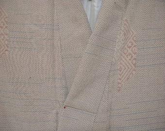 Vintage kimono S333, cross hatch pattern   silk