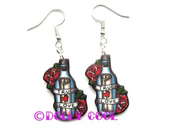 Message in a Bottle True Love Earrings by Dolly Cool Retro Vintage Rose Tattoo 50s Valentine Style