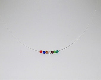 Floating Crystals Illusion Style Necklace