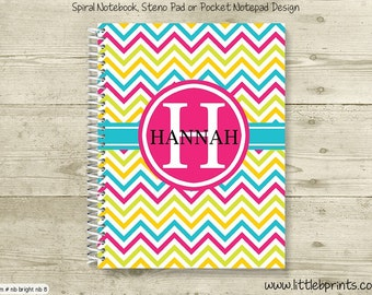 Bright Pink Yellow & Bright Blue Chevron Monogram Personalized Spiral Notebook Back to School Notebook