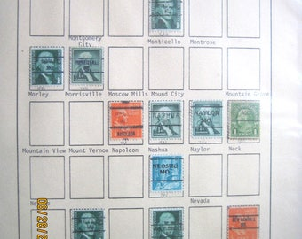 Vintage Collection of the State of Missouri PRECANCELS Stamps on Sheet