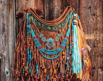 Boho hippie fringe bag, bohemian purse, festival fringe handbag, bohemian bag, summer fringe bag, vegan boho bag, boho bags and purses