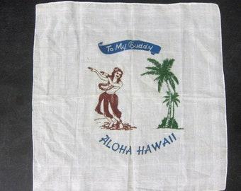 Aloha Hawaii State Souvenir Hankie Vintage 1950s Handkerchief Hula Woman Dancer Palm Tree Hello Buddy Wedding Gift Decor