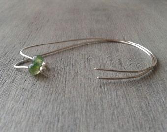 Alternative threader earrings, minimalist earrings, teardrop earrings, original earrings, recycled sterling earrings, moss agate earrings